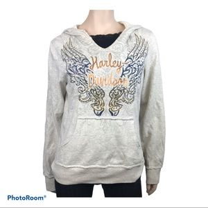 Harley Davidson Women Pullover Hoodie with Studs